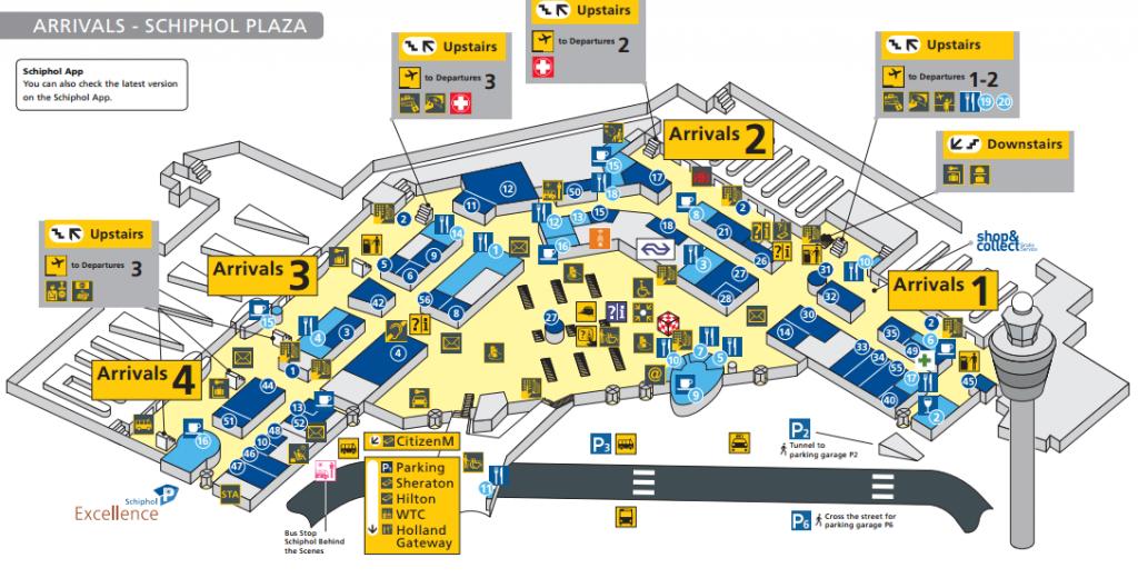 aankomsthal plattegrond schiphol airport