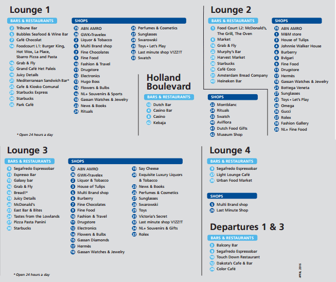 amsterdam schiphol airport map info