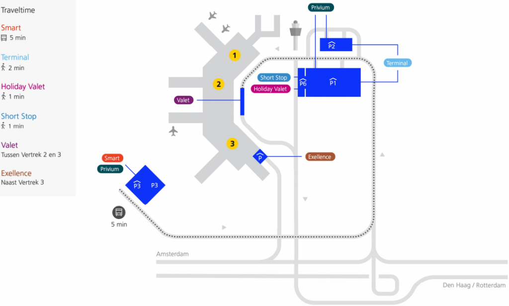 plattegrond parkeren vliegveld schiphol