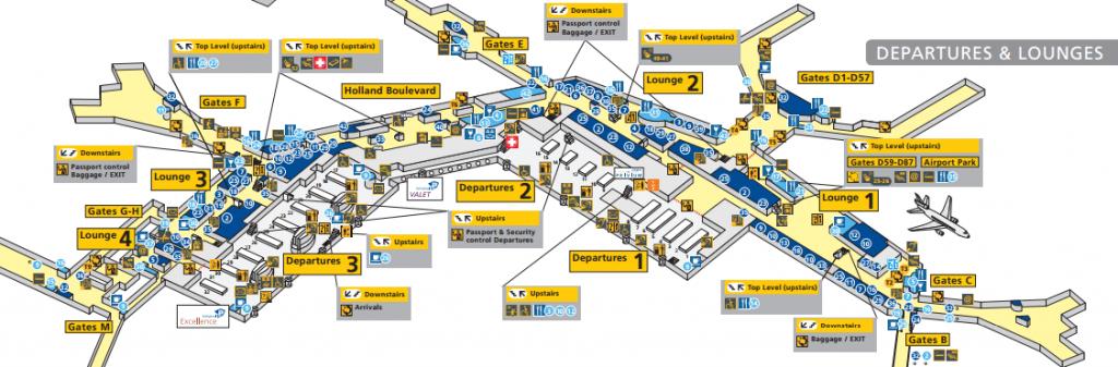 plattegrond vertrekhal schiphol airport