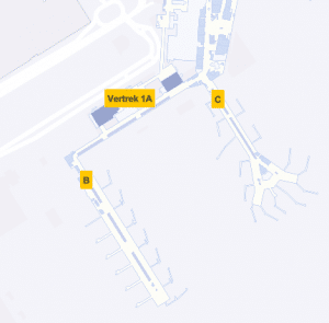 Plattegrond Schiphol Vertrek 1A Gates B en C